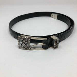 Brighton Black Croc Embossed Leather Belt M 30